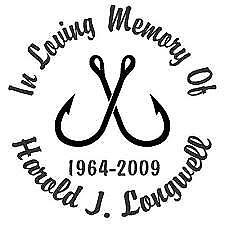 """in loving memory of decal - fish- fishing - custom text 5"""" multiple colors"""