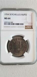 Seychelles 1 Rupee 1954 NGC MS 64