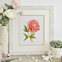 Cross Stitch Kit Flower Pink Peony DIY Embroidery Kit for Beginners Wall Decor