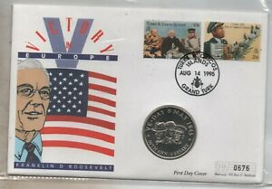 1995 Turks & Caicos Five Crowns coin cover PNC BU VE-day