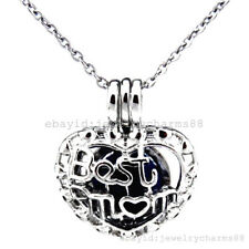 K377 Silver Pearl Beads Cage Family Mother Best Mom Stainless Steel Necklace