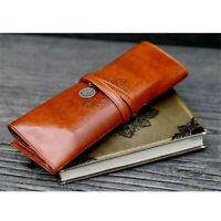 Vintage Style Rollup Pencil Case / Pencil Bag / Pen Bag PU Leather flYfE