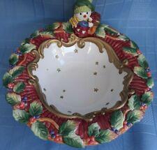 New listing Fitz and Floyd Essentials Christmas Snowman Bowl Garland Present Gold Stars