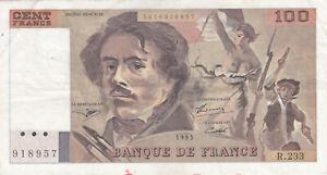 1 BILLET DE 100 FRANCS 1993 EUGENE DELACROIX POUR COLLECTIONNEUR
