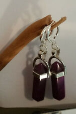 Earrings Natural Healing Amethyst Point Earwires Marked Sterling Sliver Pendulum