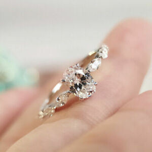 14k White Gold Fn 1.00ct Oval Cut Moissanite Solitaire Crystal Engagement Ring