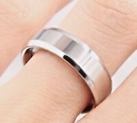 6mm Stainless Steel Silver Plain Comfort Fit Ring - Mens & Womens Wedding Band