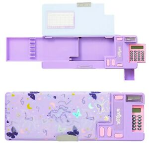 Smiggle Sky Id Pop Out Pencil Case with Calculator Unicorn butterfly neon custom