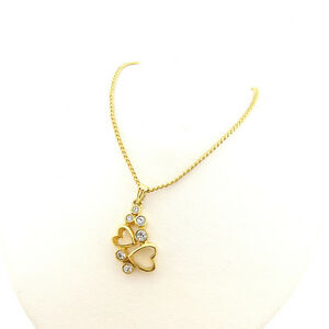 courreges Necklace Pendant Gold clear Woman Authentic Used A1263