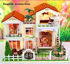 DIY Wooden Handmade Dollshouse Miniature DIY Kit -Large Villa & Furniture inside