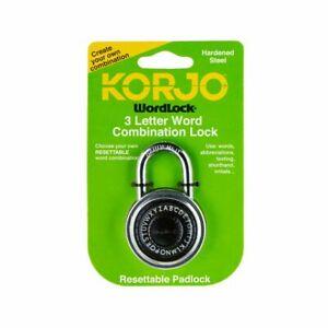 NEW Korjo Wordlock 3 Letter Word Combination Lock