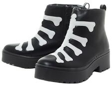Iron Fist Womens Skeleton Wishbone Black Heavy Sole Boot Size 8 M