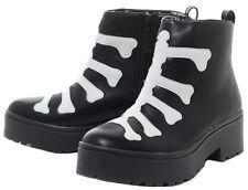 Iron Fist Womens Skeleton Wishbone Black Heavy Sole Boot Size 8 M