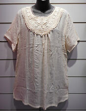 Top Fits XL 1X Tunic Western Blouse Wide Lace Chest Cream Rodeo Stretch NWT DC64