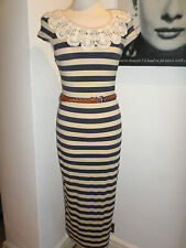 Topshop Dress size 8 Navy Beige stripe cream lace collar label Rare New with Tag