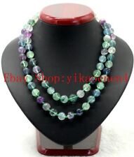 Natural 8mm Multicolor Fluorite Gemstone Round Beads Necklace Super Long 35'' AA