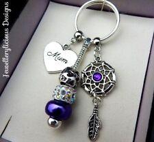 Beautiful Purple MUM Dream Catcher AB Crystal Keyring Key Ring