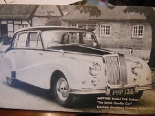"VINTAGE RARE COLLECTOR CARD SAPPHIRE MODEL 346 SALOON ""THE BRITISH QUALITY CAR"""