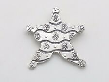 Signed Sterling Silver 925 Star Starfish Swirled Strip Small Pin Brooch