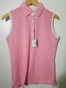 1 NWT KATE LORD WOMEN'S S/L POLO, SIZE: SMALL, COLOR: PINK/WHITE STRIPED(J98)