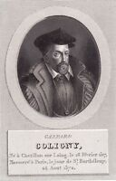 Portrait Amiral Gaspard de Coligny Massacre Saint-Barthélemy Protestantisme 1824