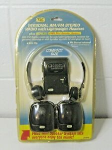 TOZAJ personal am/fm stereo radio w/headset & mini speakers, brand new
