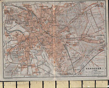1925 GERMAN MAP ~ HANNOVER CITY PLAN LINDEN EILENRIEDE WITH PUBLIC BUILDINGS