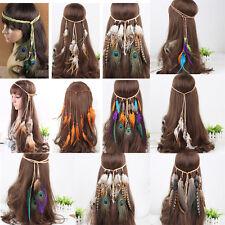 Haarband Haargummi indisch Ethno Hippi Haarreif Kopfband Boho Kopfschmuck Federn