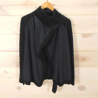 Lucky Brand Women's Sz L Asymmetric Sweater Single Button Front Black Gray
