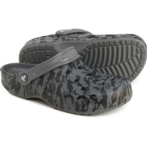Crocs Baya Seasonal Printed Clog Slate Gray & Black Sandals - SIZE 8 WOMENS