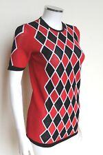 Louis Vuitton Black Red White Stretch Diamond Print Mesh top S