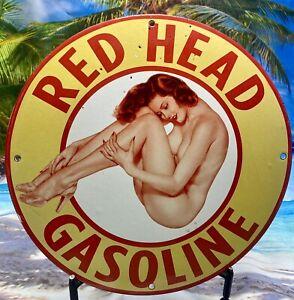 1944 VINTAGE RED HEAD PORCELAIN SIGN PIN UP GAS OIL PUMP RACK PLATE GINGER FORD