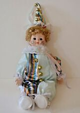 Vintage Porcelain Bisque Music Box Clown Doll Richard Green Noble Art Jester 17""