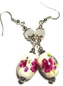 Long Silver Pink Famille Rose Earrings Drop Dangle Porcelain Bead Vintage Chic
