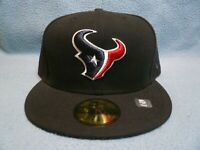 New Era 59fifty Houston Texans Solid BRAND NEW Fitted cap hat Black NFL