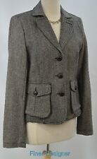 Lucky Brand Tweed Coat Jacket blazer wool cotton 3 button top Womens SIZE L NEW