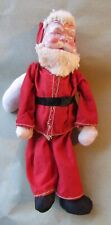 Vintage Stuffed Santa Celluloid Face Armatured Arms & Legs Stuffed Body Handmade