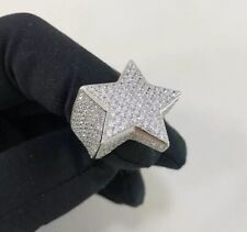 925 Sterling Silver Star Design Ring Gents Full Cubic Zirconia Stones