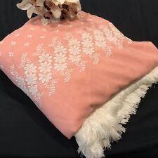 Vintage Pink White Huge Fringe Bedspread Embroidered DB QB KB Boho NOS Unused