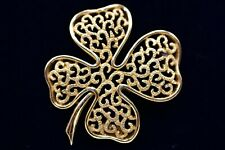 Vintage Trifari Crown Signed Pin Brooch Gold Tone 4 Leaf Lucky Clover Chic BinF