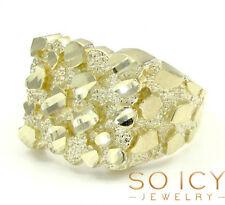 4.70 Grams Size 11 10k Yellow Real Gold Mens Hip Hop Square Medium Nugget Ring