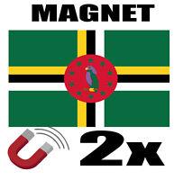 2 x DOMINIQUE Drapeau Magnet 6x3 cm Aimant déco DOMINIQUE  magnétique frigo