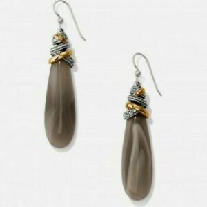 Brighton NEPTUNE'S RINGS Gem Pyramid Banded Agate Earrings w/  Pouch & Box $98