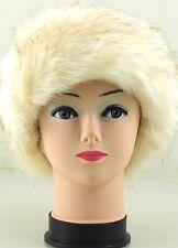 Señoras para mujer de un tamaño de lujo de piel sintética forro polar oreja calentador diadema Color Beige