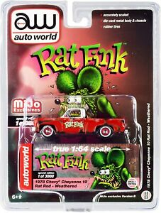 Auto World 1:64 1978 Chevy Cheyenne 10 Rat Fink Rod Weathered Mijo Exclusive
