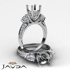 3 Stone Pear Round Diamond Wedding Antique Ring Semi Mount 18k White Gold 1.21Ct