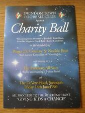 14/06/1996 Swindon Town: Hosts A Charity Ball, At The Devere Hotel, Dinner Menu