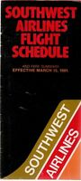 SOUTHWEST AIRLINES TIMETABLE MARCH 1981