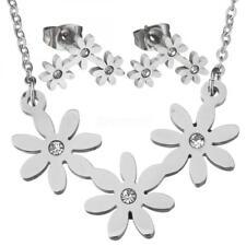 Women Silver Flowers Pendant Necklace Earrings Jewelry Set Hot Jewelry GIfts