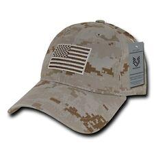 Desert Camo USA US American Flag United States America Polo Baseball Hat Cap